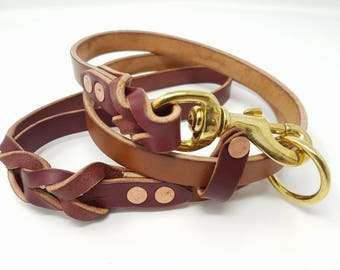 Braided Leather Slip/Carabiner Dog Lead - 4 feets