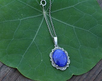 Lapis Lazuli and Marcasite in Sterling Silver