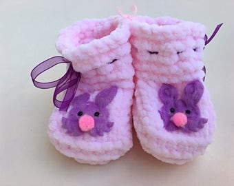 Purple & Pink Booties Baby Girl Booties Knitted Crib Shoes Newborn Baby Gift Crochet Pink Booties Baby Shower Gift Purple Baby Clothes