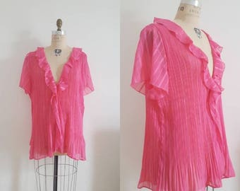 Vintage 80s, 1980s pink frilly baby doll kimono, flowy bright pink top, size medium large M/L