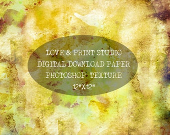 Digital paper, Photoshop textures, Photoshop backgrounds,12x12 honey yellow texture Scrapbooking paper Digital texture Commercial watercolor