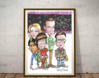 The Big Bang TV Show, Eco Friendly, A3 Cult Caricature Poster/Print
