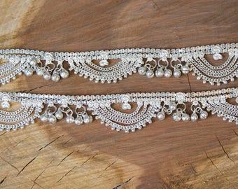 Indian Anklet / Chaine de Pieds indienne en metal blanc