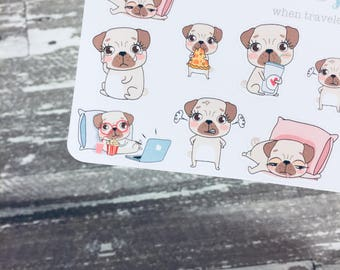 Mylo Puggie  Dog Sticker | Pug Stickers | Animal Character Planner Sticker