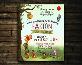 Winnie the Pooh Birthday Invitation   Hundred Acre Woods Birthday Invitation