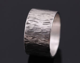 Wide Band Ring, Wide Silver Ring, Mens Silver Ring, Wedding Band, Wedding Band Mens, Men's Wedding Band Silver Hammered Ring, Unique Rings
