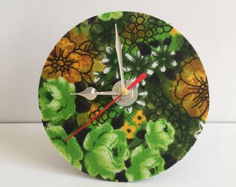 Mantle clock made from recycled Cd and vintage fabric