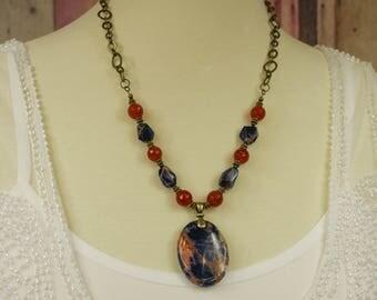 """Sodalite and Carnelian Necklace - Adjustable 18-20"""" - Gemstone Jewelry, Bohemian Necklace, Sundance Style Jewelry, Boho Gypsy Hippie Chakra"""