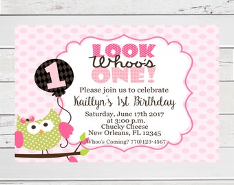 Owl 1st Birthday Invite, Look Whoo's One, 1st Birthday Owl, Owl Birthday Invitation, Owl Birthday Invite, 1st Birthday, Look Whoo's Two