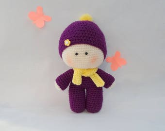 Amigurumi doll,little girl toy, baby doll,knitted girl,knitted toy,kid gift,soft toy,stuffed girl boll,plush toy gift,birthday gift K099