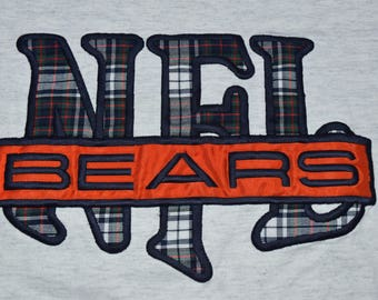 Vintage 90s Embroidered Chicago Bears t-shirt mens Medium NFL Football Heather Gray Made in the USA