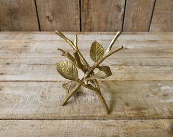 """5"""" Gold Tone Twig & Leaf Design Marble Egg or Orb Holder Tripod Stand"""