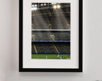 Manchester City  FC, Etihad Stadium Illustrated Print, Man City FC gifts, Football Art, Gift for Men, Football Gifts, Football Posters