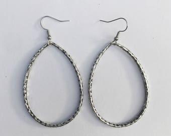 Silver hammered teardrop hoop earrings
