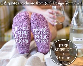 Clothing Gift For Her, Wine Socks, Gift For Mom from daughter, Best Friend Gift, Wine Lover Gift, If You Can Read This Socks Bring Me Wine