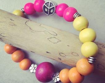 Hippie Bohemian mixed wood 17 cm bracelet