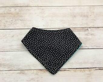 black and white bandana bib - drool bib - polka dot bib - bandana bib -  bib for baby girl - girl bib - baby shower gift - baby accessories