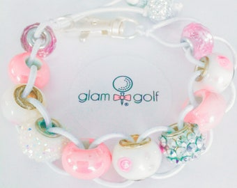 Classy Beaded golf score stroke counter bracelet or clip on your golf bagmade with pink, white, and silver crystal beads