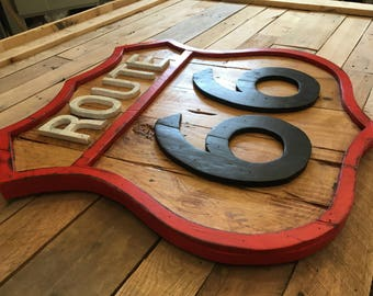 """Route 66 sign/26""""x26""""/Handcrafted/great gift idea/Natural wood/pallet art/3D/rustic/reclaimed/car lovers/iconic/wood sign/art"""