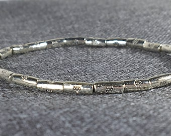 Silver Tube Beads Stretch Bracelet