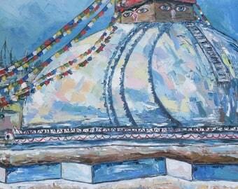140 Nenal-katmandu-bodha-stupa-soul-ethnic-ethnic style-mountain-landscape-city-oil painting-palette