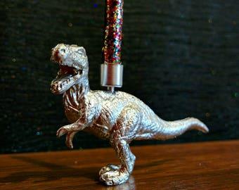 Silver T-rex Cake Topper / Dinosaur Cake Topper / Silver Party Supplies / Tyrannosaurus rex / Trex / Silver Dino Birthday Candle Holder /