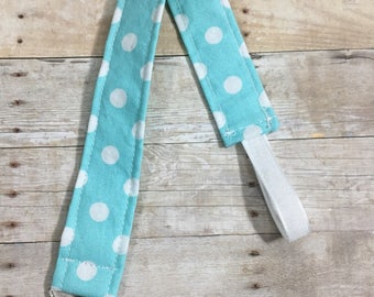 Aqua and White Polka Dot Pacifier//Binky Clip
