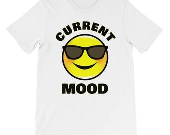 Current Mood Emoticon Emoji Sunglasses Cool Happy Smiley Face T-shirt