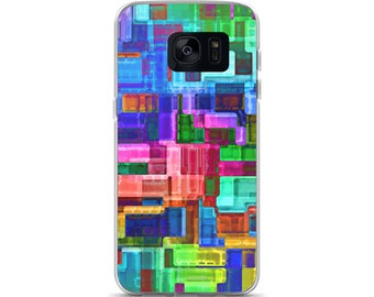 Android Samsung Galaxy S 7 8 Case Watercolor Blue Green Red Yellow Gem Jewel Cool Art Paint Protective Phone Cases
