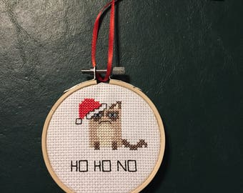 "Mini Grumpy Cat Cross Stitch - ""Ho Ho No"" - Finished Cross Stitch - Christmas Cross Stitch"