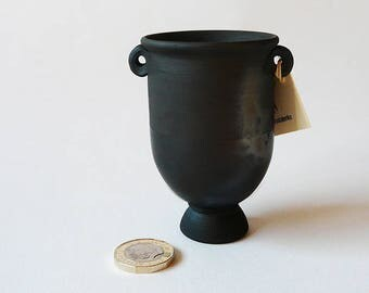 Handmade SMOKE FIRED POT Miniature Crater souvenire Pot ancient Greek-influenced Roman pottery miniature replica