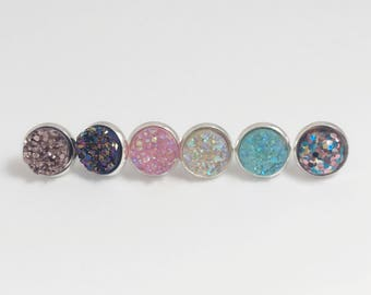Druzy stud Earrings - 10mm pink rose gold teal blue multi color glitter & clear AB, sparkle silver stocking stuffers Christmas - Boho Chic