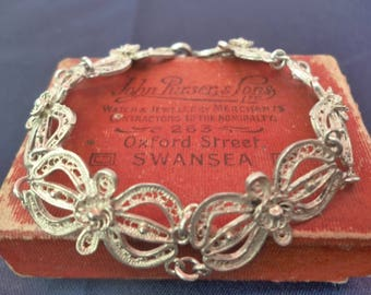 "Vintage filigree silver bracelet - 925 - sterling silver - 6"" - Beuatiful piece"