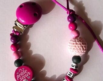 Fushia woven Pearl personalized pacifier clip