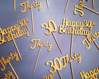 Personalized birthday party cupcake toppers, 30th Cupcake topper