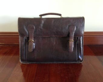 Vintage Leather Briefcase (free shipping)
