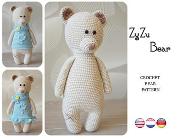 Crochet Bear pattern by ZyZu Line Design - Teddy Bear pattern - Amigurumi bear with bobble stitch dress - Crochet DIY Craft Projects