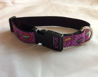 Medium dog collar adjustable purple novelty superheroes design
