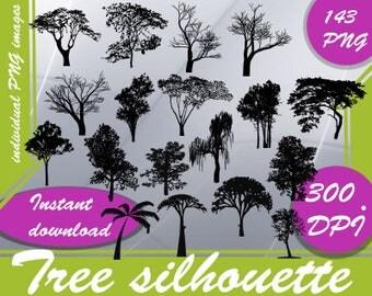 Tree silhouette - Digital 300 DPI - 143 PNG image - palm tree silhouette ,silhouette of trees ,tree silhouette art ,