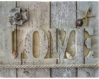Handmade, Beach Themed, Wooden LOVE Sign, Love Letters, Letters, Love, Driftwood, Beach Themed Wedding Decorations, Beach Wedding, Seashells