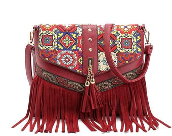 Boho Leather Bag, Tribal Purse, Tassel Bag, Leather Handbag,