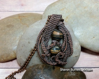 Brown Opal Pendant Copper Wire Wrapped, Oxidized Bare Copper Wire for an Antique Finish Look