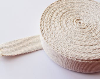 Webbing strapping 20/30mm cotton beige bags straps