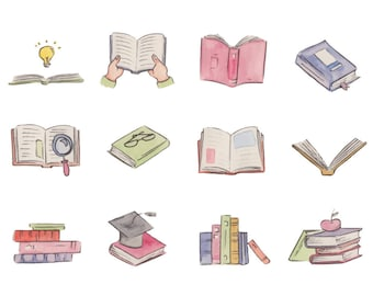 Watercolour Books Clip Art Graphic Design PNG High Resolution A56
