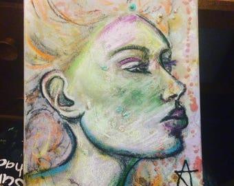 Woman pouting portrait original art