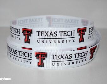 """Texas Tech 1"""" Grosgrain Ribbon 160A By the Yard"""