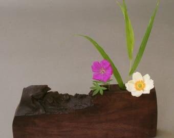 Walnut wood bud vase