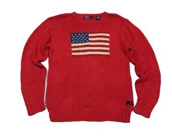 Vintage Polo Ralph Lauren Flag Usa Sweater Knit Red Sz L