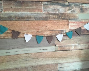 Hand knitted green, brown and white woollen bunting