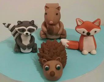 Edible Woodland Cake Topper. Woodland baby shower. Fondant Woodland Animals. Fondant woodland cake topper. Edible Woodland Creatures